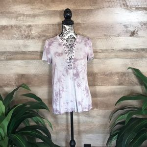 American Eagle Lace-Up Tie Dye Soft&Sexy Tee